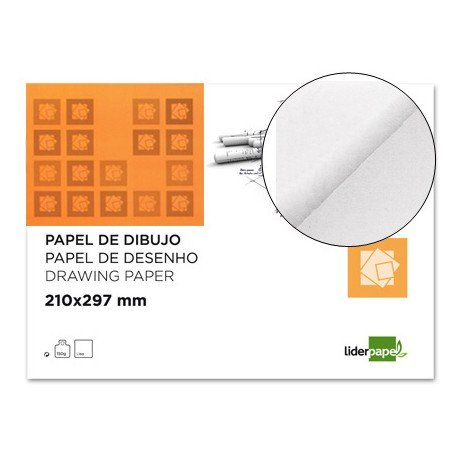Papel dibujo marca Liderpapel 210x297mm 150g/m2 lamina lisa. Pack 10 hojas