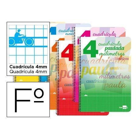 Bloc espiral marca liderpapel folio pautaguia tapa cartoncillo 80h80 g cuadriculado pautado 4mm colores surtidos