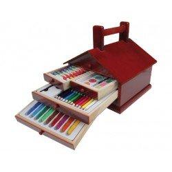 Estuche pintura marca Stetro madera casita