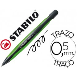 Boligrafo Stabilo com4 verde retractil 0,5mm tinta color azul
