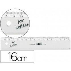 Regla M+R 16 cm plastico transparente. Numerada al reves.