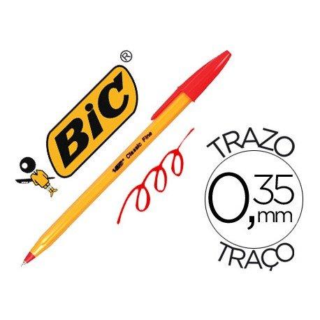 Boligrafo Bic tinta roja 0,35 mm cuerpo naranja
