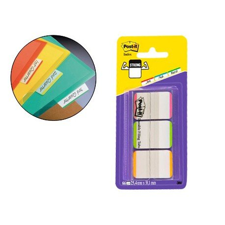 Banderitas Post-it ® separadoras rígidas dispensador 3 colores
