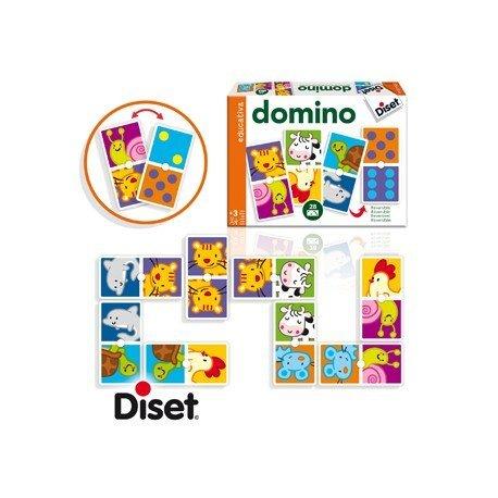 Juego didáctico a partir de 3 años Domino animales y puntos Diset
