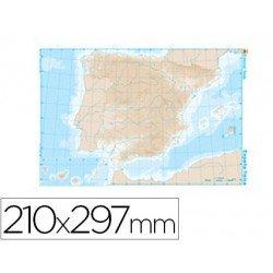 Mapa mudo de España fisico blanco y negro