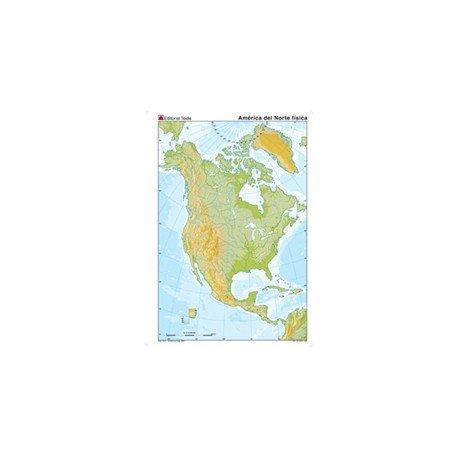 Mapa mudo de America del Norte fisico