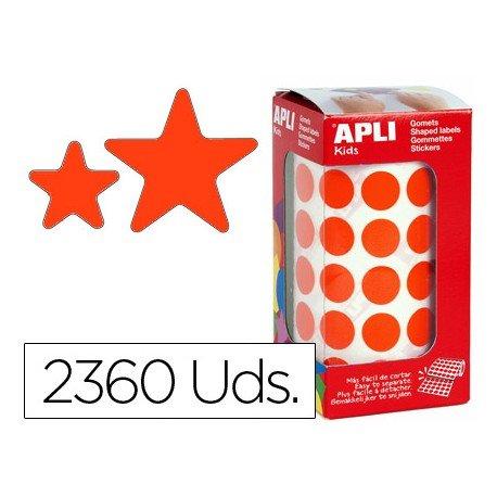 Gomets Apli estrella color rojo tamaño surtido