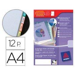 Separador Avery de plastico con 12 pestañas de indice personalizable din a4