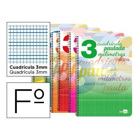Bloc espiral marca liderpapel folio pautaguia tapa extradura 80h 80 g cuadriculado pautado 3 mm con margen colores surtidos