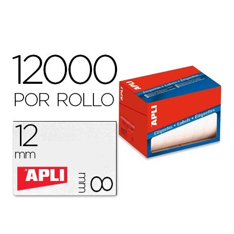 Etiqueta adhesiva marca Apli 1676 8x12 mm redondas rollo de 12000 unidades blancas