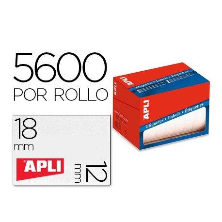 Etiqueta adhesiva Apli 1679 12x18 mm redondas rollo de 5600 unidades blancas