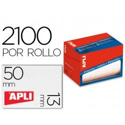 Etiqueta adhesiva marca Apli 1682 13x50 mm redondas rollo de 2100 unidades blancas