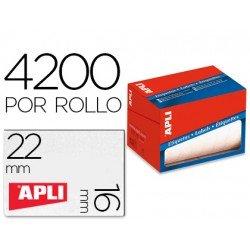 Etiqueta adhesiva marca Apli 1683 16x22 mm redondas rollo de 4200 unidades blancas