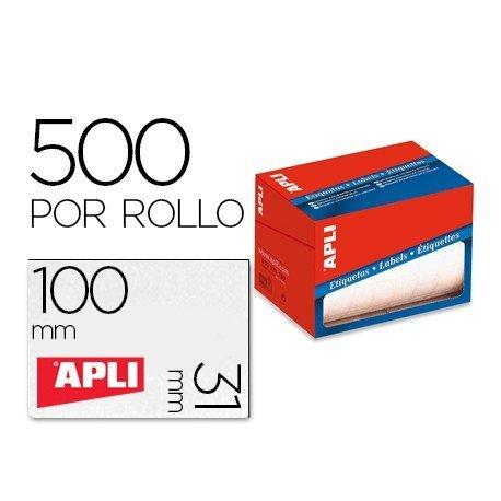 Etiqueta adhesiva marca Apli 1692 31x100 mm redondas rollo de 500 unidades blancas