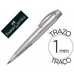 Boligrafo Faber Castell Conic plata tinta azul 1 mm