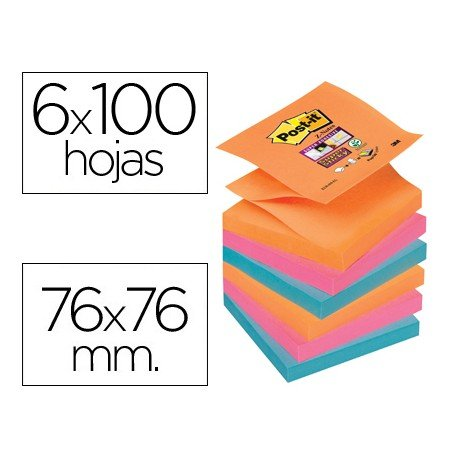 Bloc quita y pon Post-it ® colores electricos zigzag super sticky 76 x 76 mm