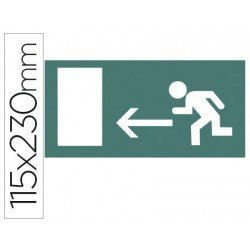 Etiqueta adhesiva Apli de señalizacion indicador direccion a la izquierda de puertas de salida