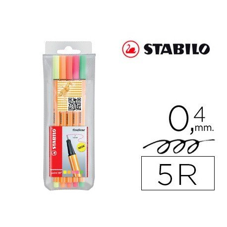 Rotulador Stabilo point 88 estuche 5 unidades