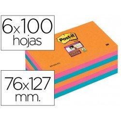 Bloc notas quita y pon Post-it ® colores electricos super sticky 76 x 127 mm