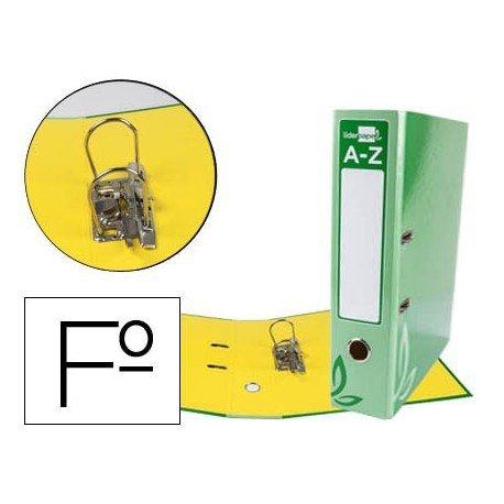 Archivador de palanca Liderpapel folio carton forrado rado verde lomo 75mm