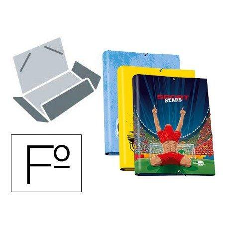 Carpeta Liderpapel gomas 3 solapas folio carton fantasia sport stars