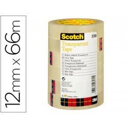 Cinta adhesiva marca Scotch 550 transparente pack de 12