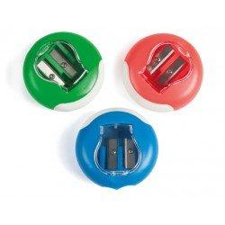 Sacapuntas plastico Liderpapel circular con deposito