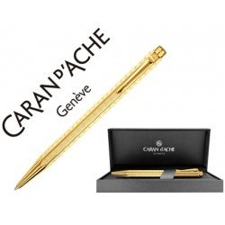 Boligrafo marca Caran d'ache Ecridor Chevron placado dorado estuche