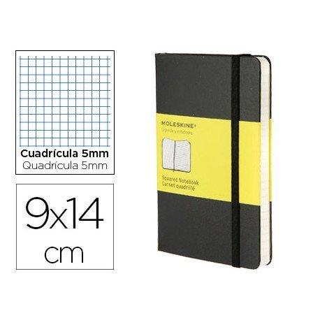 Libreta Moleskine tapa dura cuadricula color negro 9x14 cm