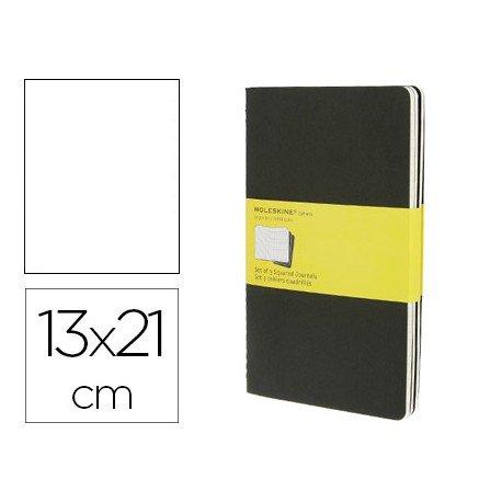 Libreta Moleskine tapa blanda cuadricula color negro pack (3) 13x21 cm