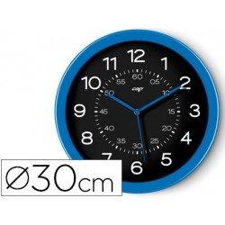 Reloj Cep pared plastico 30 cm color azul y esfera negra