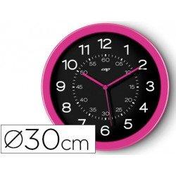 Reloj Cep pared plastico 30 cm color rosa y esfera negra