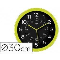 Reloj Cep pared plastico 30 cm color verde y esfera negra