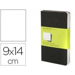 Libreta Moleskine tapa blanda liso color negro pack (3) 9x14 cm