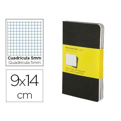 Libreta Moleskine tapa blanda cuadricula color negro pack (3) 9x14 cm