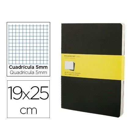 Libreta Moleskine tapa blanda cuadricula color negro pack (3) 19x25 cm