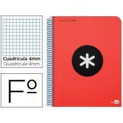 Bloc marca Liderpapel Folio Antartik Cuadricula 4 mm rojo
