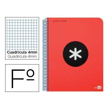 Bloc Antartik Folio Cuadrícula tapa Dura 100g/m2 Rojo con margen