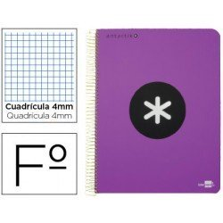 Bloc marca Liderpapel Folio Antartik Cuadricula 4 mm violeta