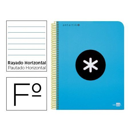 Bloc marca Liderpapel Folio Antartik Rayado Horizontal azul