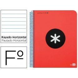 Bloc Antartik Folio Rayado Horizontal tapa Dura 100g/m2 Rojo con margen