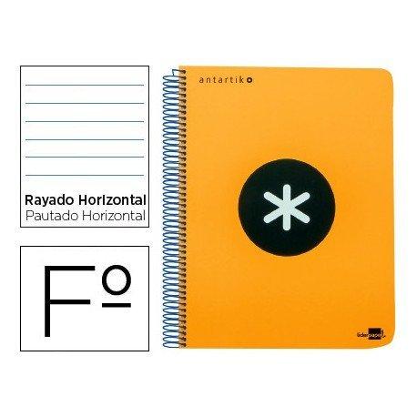 Bloc Antartik Folio Rayado Horizontal tapa Dura 100g/m2 Naranja Flúor con margen