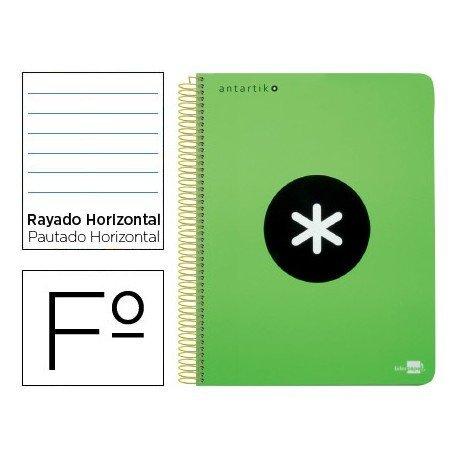 Bloc Antartik Folio Rayado Horizontal tapa Dura 100g/m2 Verde Flúor con margen