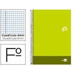 Bloc Liderpapel serie Discover folio cartoncillo cuadricula 4 mm color verde lima