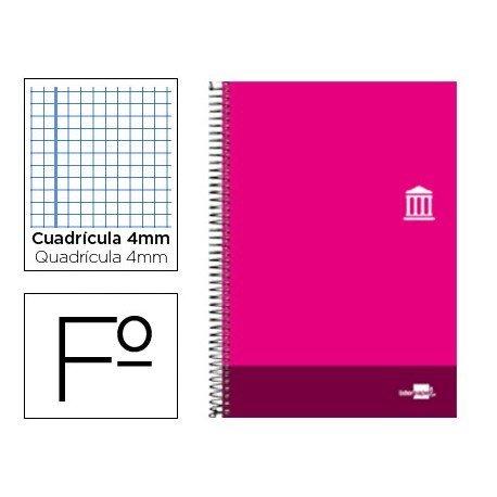 Bloc Liderpapel serie Discover folio cartoncillo cuadricula 4 mm color rosa