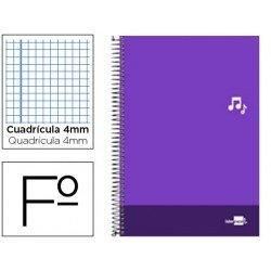 Bloc Liderpapel serie Discover folio cartoncillo cuadricula 4 mm color violeta