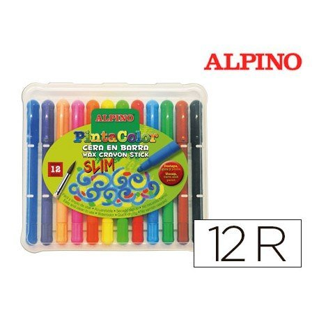 Lapices cera acuarelables Alpino caja de 12 unidades colores surtidos