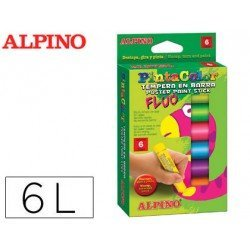 Tempera en barra Alpino caja de 6 Colores fluor Surtidos