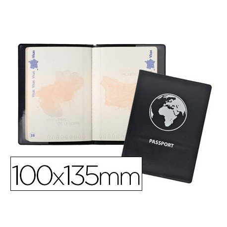 Funda pasaporte Exacompta doble solapa color negro
