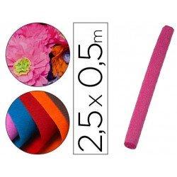 Papel crespon Liderpapel color rosa rollo 50x25cm 85g/m2